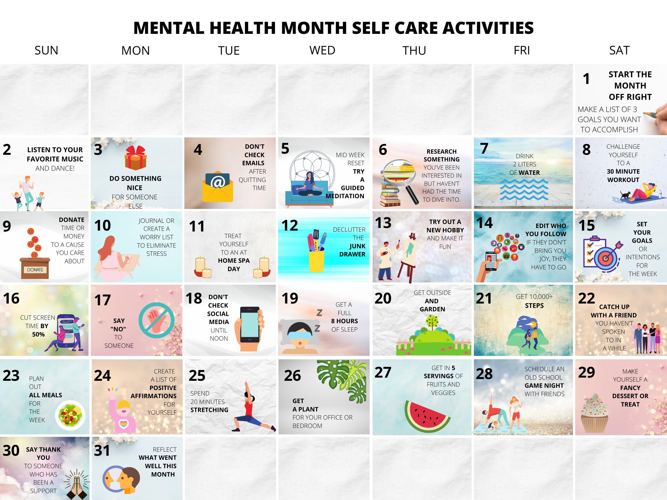 Mental Health Calendar